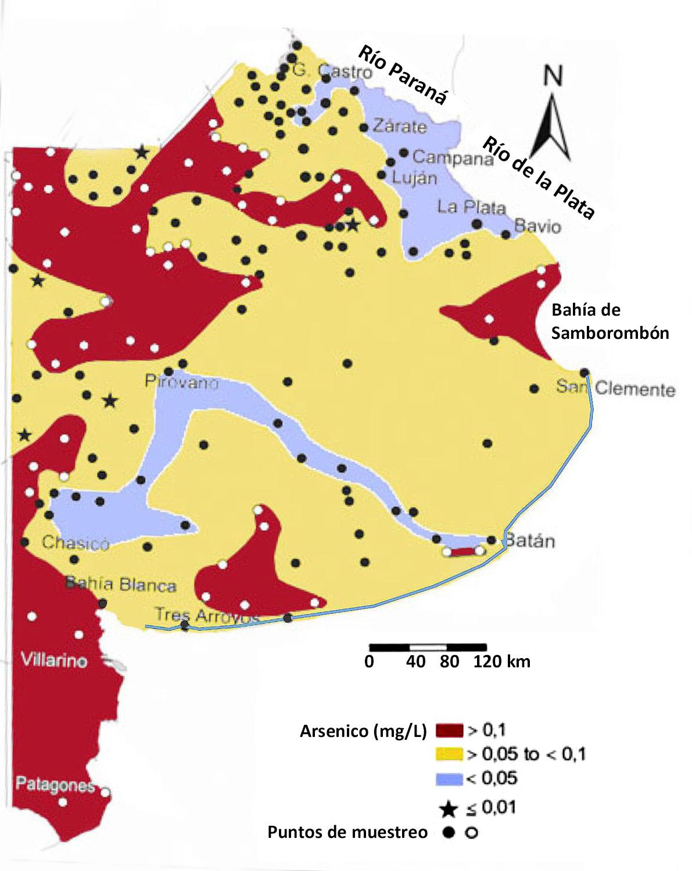 Mapa de Arsenico en la Provincia de Buenos Aires